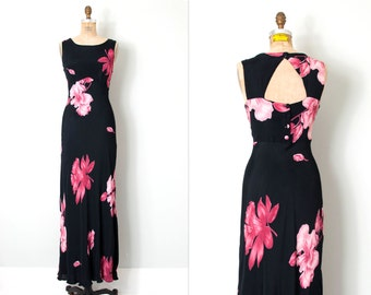 vintage 90s does the 30s dress / black floral 90s does the 1930s dress  / medium m