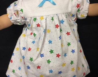 Doll Clothes For 15 Inch Baby Dolls, Handmade to fit your American girl bitty baby, Colorful Star Nightgown