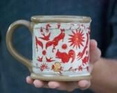 Ceramic mug - tea cup  - coffee mug - unique pottery mug - Gold accent - coffee lovers gift - stoneware mug - Large Coffee Mug - 12 oz