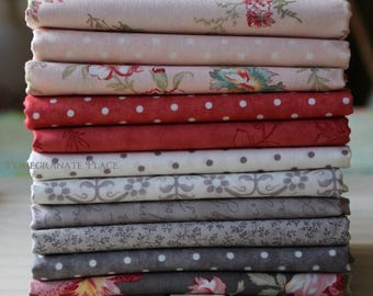 11 fat quarters... Three Sisters..Poetry..charcoal..stone..blush..rose colorways
