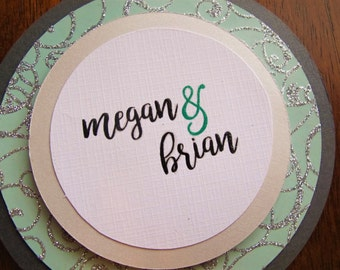 Green Wedding Invitation SET/Unique Wedding Invitation/Round Wedding Invitation/Bride and Groom/You are Invited/Unique Wedding