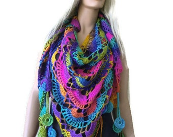 Bohemian crochet scarf- Chanson d'amour-Super lacy multicolor Crochet lace scarf with fringes-Silk and mohair-Handmade