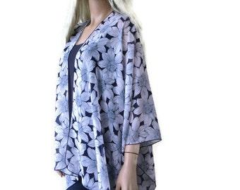 Kimono/ Kimono cardigan-Navy and palest pink floral chiffon kimono-ruana-  summer collection-Women Kimonos