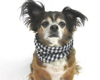 Dog Infinity Scarf Black and White Gingham