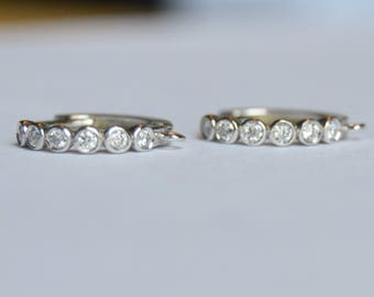 14 kt white gold leverbacks, diamond leverbacks, diamond bezel earrings, diamond earrings, diamond hoops