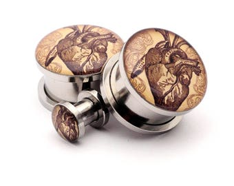 Vintage Heart Picture Plugs gauges - 16g, 14g, 12g, 10g, 8g, 6g, 4g, 2g, 0g, 00g, 7/16, 1/2, 9/16, 5/8, 3/4, 7/8, 1 inch