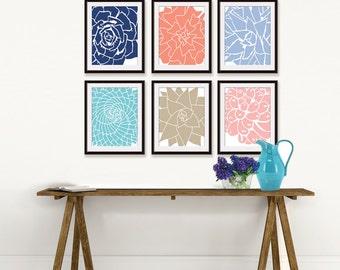Modern Succulent Botanicals (series C6) - Set of 4 - Art Prints (Featured in Assorted Colors) Desert Rose Art Prints