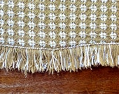 Vintage Cotton Table Cloth, brown and white, Oval tablecloth, simple pattern