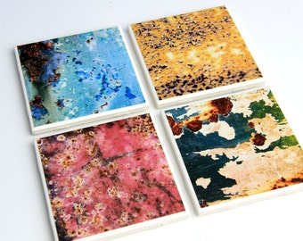 Ceramic Tile, Coaster Set, Rust Colors, Industrial Decor, Modern Design, Set of 4