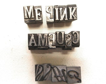 Vintage metal printers type.   12 alphabet letters and 4 digbat borders.  Printing, stamping, bookbinding, mixed media decor