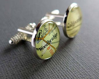 Customised Mens Cufflinks, Personalized Husband Gift, Silver Map Cufflinks