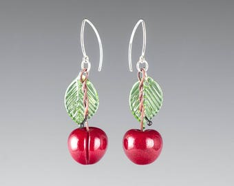 Glass Cherry Earrings / Red Cherry lampwork bead jewelry hand blown glass art birthday gift, anniversary gift for gardener, cook, chef