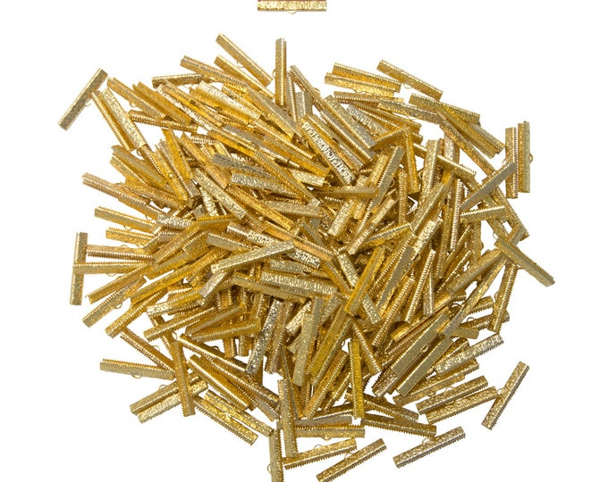 500 pieces  38mm  ( 1 1/2 inch )  Gold Ribbon Clamps - Artisan Series