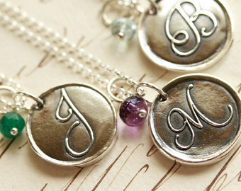 Oxidized Script Initial Wax Seal Necklace with Birthstone - Any Letter of the Alphabet - Fine Silver, Sterling Silver