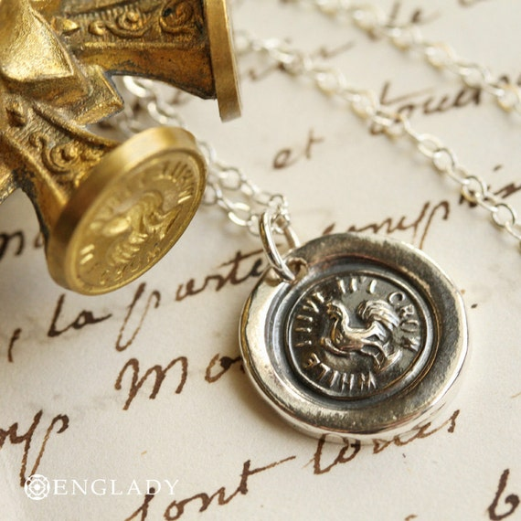 While I Live I'll Crow, Rooster Victorian Wax Seal Necklace - Fine Silver