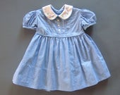 Handmade Baby Girls Blue Gingham Dress Embroidery