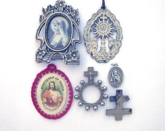 Vintage Religious Medals Lot Destash Scapula Ring Rosary Miniature Frame