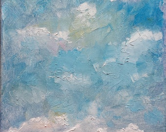 Abstract landscape oil painting farm farmland country art hay bales nature clouds America seasons spring summer 8x10 - West Field Seedlings