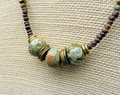 Rhyolite Necklace - Rhyolite Beads, Antiqued Brass Beads, Wood Beads, Short Necklace