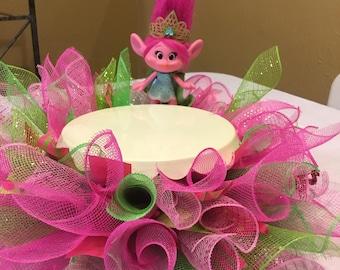 Poppy Troll Cake Stand Skirt , Troll Birthday Party Centerpiece for Cake , Troll Cake Stand Skirt , Poppy Troll Birthday Decor