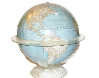 """National Geographic Globe 1961 The Globe with the Thinking Cap 12"""" Globe with Geometer"""