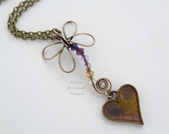 Dragonfly pendant, heart pendant, hand painted, purple and gold, bronze dragonfly, crystal dragonfly, dragonfly necklace, heart necklace