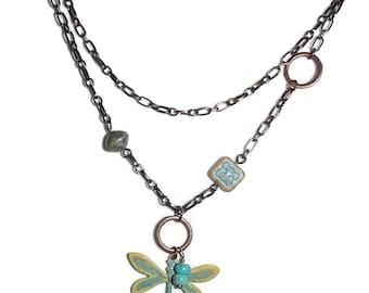 Dragonfly Chain Necklace Boho Dragonfly Copper Chain Dragonfly Necklace OOAK