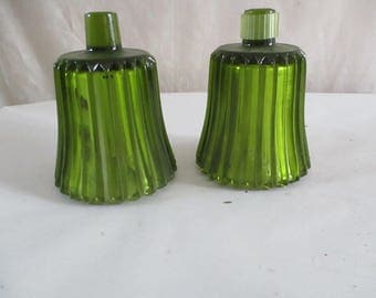 Green Votive Candle Cups Lines Cut Glass
