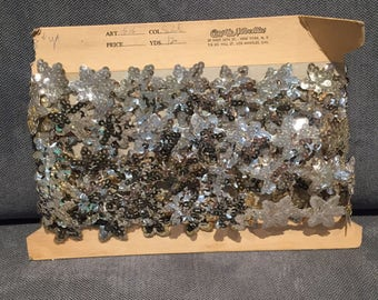 Vintage silver sequin trim 10+ yards on card craft sewing floral costume millnery