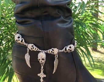 Handcrafted Rhinestone Skull Angel Wing And Cross Boot Bracelet