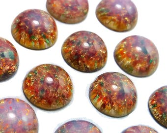 Harlequin Opal Cabochon 8 pcs Vintage Pink Fire Opal Glass 11mm S-96 R
