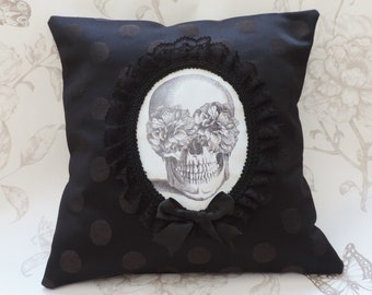 Blooming skull victorian gothic cameo pillow cushion black dots halloween macabre home decor