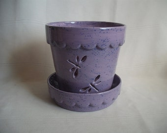 Medium Scalloped Orchid  Pot/Planter / With Dragonflies and Flowers