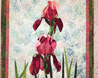 Magenta Irises Original Fiber Art by Lenore Crawford