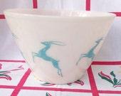 Vtg Fire King Aqua Gazelle Deer Splash Proof Mixing Bowl | Chef Cook Cooking Baking | Food Storage | Vintage Kitchen