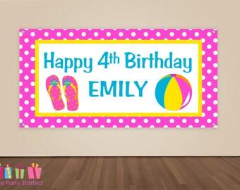 HAPPY BIRTHDAY Banner, Pool Party Birthday Decorations, Summer Birthday Backdrop, Pool Party Banner, Girls Birthday Party, Vinyl Banner