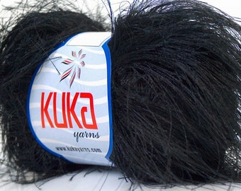 ICE YARNS JUNGLE black long eyelash type yarn 50gr. 65 yrds kuka super soft craft rug novelty yarn ships from indiana 20779