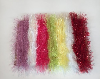 ice yarns SAMPLES fiber art bundle cards ALL EYELASH lurex letallic pink white yellow red glitz green  crochet knitting left over