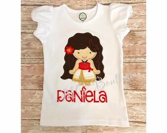 Personalized Princess Birthday shirt - Polynesian Princess Shirt - Applique Shirt - birthday shirt Personalized shirt