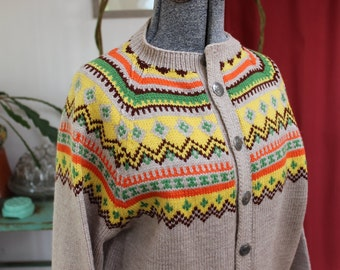 Wool Sweater Fair Isle Hand Knit Size Medium VINTAGE by Plantdreaming