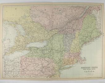 Antique Map NE United States Map 1884 A C Black Map, New England, New York Map, Massachusetts Pennsylvania Map, North East US Map Art Gift