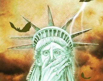 Art, Statue of Liberty, Uh Oh, Print from original painting, political art, nightmare,
