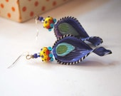 Purple Earrings, Funky Lampwork Earrings, Colorful Earrings, Striped Earrings, Ridged Earrings, OOAK Artisan Earrings, Modern Chic Earrings