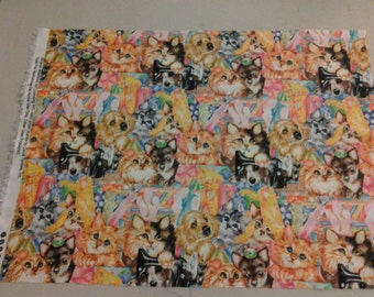 Kittens and Puppies all over fabric  247682