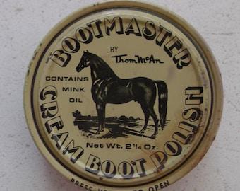 REDUCED Vintage 60s Horse Thom McAn Boot Polish Tin Shoe Polish Advertising Tin