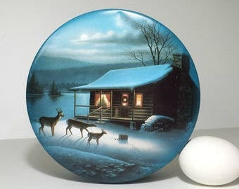 Vintage Christmas Winter Scene with Deer Tin / Round Metal Tin with Deer in Snow & Log Cabin Christmas Scene