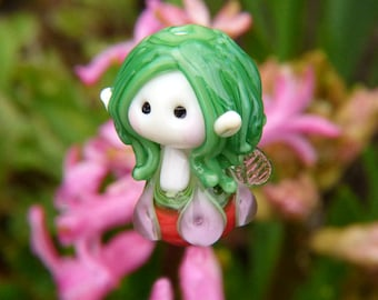 Little Green haired Jewel Fairy Glass Bead