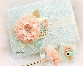 Guest Book, Ivory, Coral, Gold, Mint Green, Elegant Wedding, Signature Book, Signing Pen,Lace Guest Book,Vintage Wedding,Pearls, Crystals,