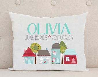 Unique Baby Gift, Birth Announcement, Personalized Baby Pillow, Cute Houses Street