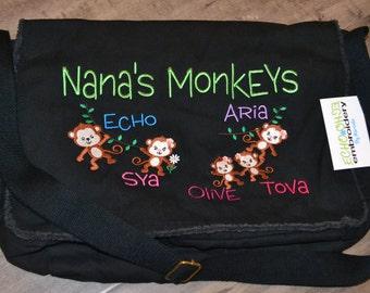 Messenger Bag Personalized! Multi Purpose Raw-Edge Black Bag  Great Diaper bag  Nana, Grandma, mom, dad, Grandpa  Monkeys